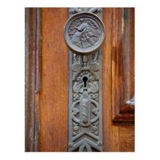 Viktorianischer Türknauf und Schlüsselloch Postkarte