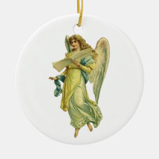 Viktorianischer Weihnachtsengel, Gloria in Rundes Keramik Ornament