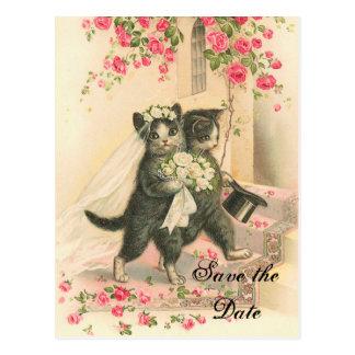 Viktorianisches Kätzchen, das Save the Date Postkarte