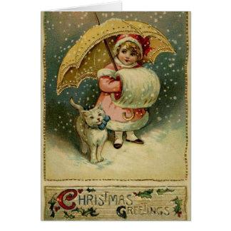 Viktorianisches Kind und Katze in der Karte