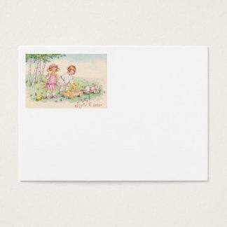 Viktorianisches Kinderostern-Küken-Häschen-Feld Visitenkarte
