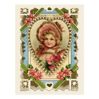 Viktorianisches Mädchen in der Postkarte