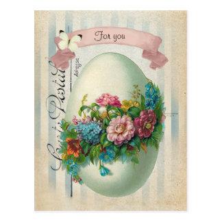 Viktorianisches Ostern-Blumen-Ei Postkarte