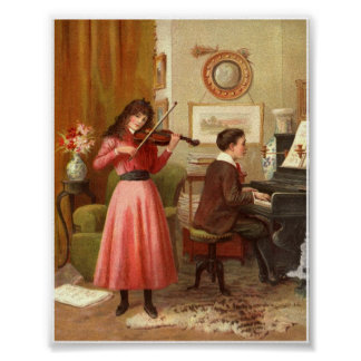 Viktorianisches Plakat Damen-Music Room Art Print