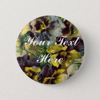 Viktorianisches Stiefmütterchen-Knopf-Button | Runder Button 5,7 Cm