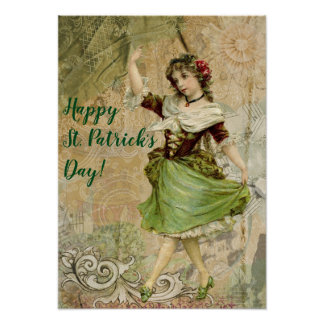 Viktorianisches Tanzen-Mädchen an grünen St Poster