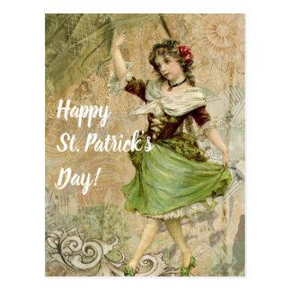 Viktorianisches Tanzen-Mädchen an grünen St Postkarte
