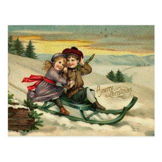 Viktorianisches WeihnachtsSledding Postkarten
