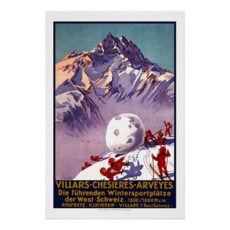 Villars, die Schweiz, Vintages Reise-Plakat Poster