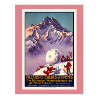 Villars, die Schweiz, Vintages Reise-Plakat Postkarte