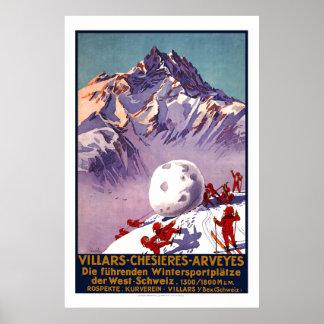 Villars, Suisse, affiche vintage de voyage