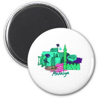 ville turquoise image.png d'Antalya Magnet Rond 8 Cm