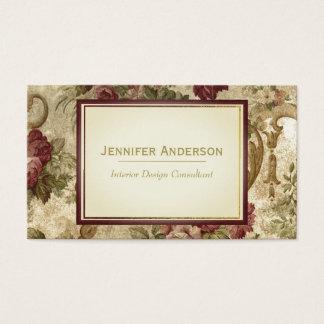 Vin vintage rose et or floral cartes de visite