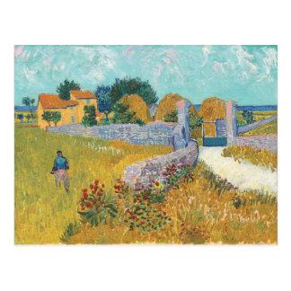 Vincent van Gogh-Bauernhaus in Provence-Landschaft Postkarte