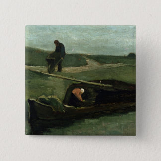 Vincent van Gogh   das Torf-Boot, 1883 Quadratischer Button 5,1 Cm