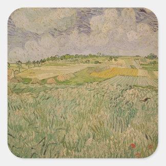 Vincent van Gogh   die Ebene bei Auvers, 1890 Quadratischer Aufkleber