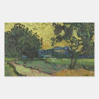 Vincent van Gogh - Landschaft an der Dämmerung Rechteckiger Aufkleber