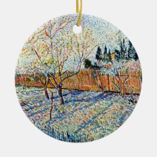 Vincent van Gogh - Obstgarten mit Pfirsich-Bäumen Rundes Keramik Ornament