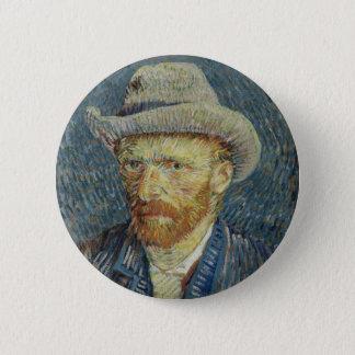 Vincent van Gogh-Selbstporträt mit grauem Runder Button 5,7 Cm
