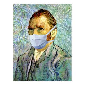Vincent van Gogh-Selbstporträt mit Masken-Parodie Postkarte