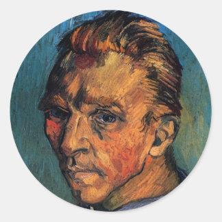 Vincent van Gogh-Selbstporträt ohne Bart Runder Aufkleber