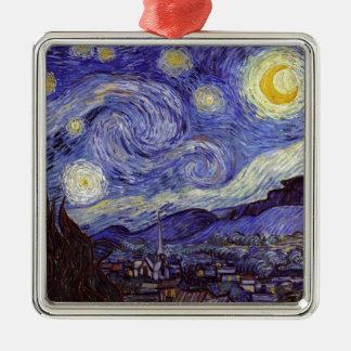 Vincent van Gogh Starry NachtVintage feine Kunst Quadratisches Silberfarbenes Ornament