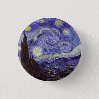 Vincent van Gogh Starry NachtVintage feine Kunst Runder Button 3,2 Cm