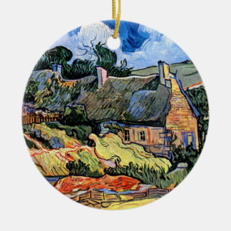 Vincent van Gogh - Thatched Hütten bei Cordeville Rundes Keramik Ornament