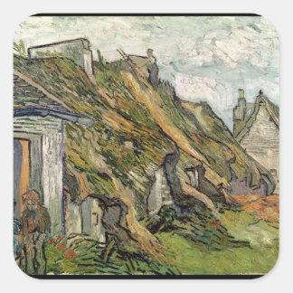 Vincent van Gogh   Thatched Hütten in Chaponval Quadratischer Aufkleber