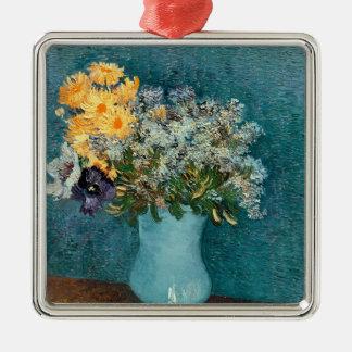 Vincent van Gogh | Vase Blumen, 1887 Quadratisches Silberfarbenes Ornament