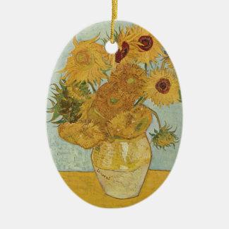 Vincent van Gogh-Vase mit 12 Sonnenblumen Ovales Keramik Ornament