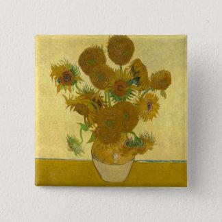 Vincent van Gogh-Vase mit 15 Sonnenblumen Quadratischer Button 5,1 Cm