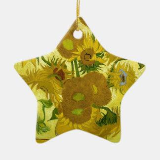 Vincent van Gogh-Vase mit fünfzehn Sonnenblumen Keramik Stern-Ornament