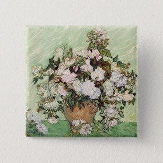 Vincent van Gogh Vase mit rosa Rosen-Blumenkunst Quadratischer Button 5,1 Cm