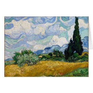 Vincent van Gogh-Weizen-Feld mit Zypressen-Kunst Karte