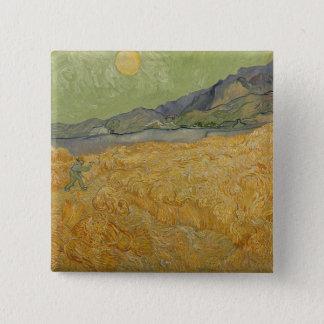 Vincent van Gogh   Wheatfield mit Sensenmann, 1889 Quadratischer Button 5,1 Cm