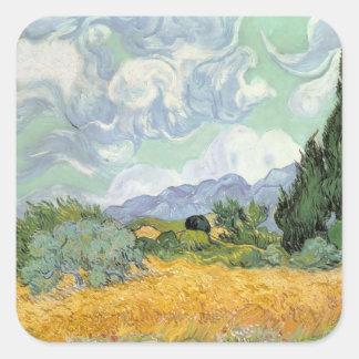 Vincent van Gogh   Wheatfield mit Zypressen, 1889 Quadratischer Aufkleber