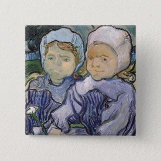 Vincent van Gogh   zwei kleine Mädchen, 1890 Quadratischer Button 5,1 Cm