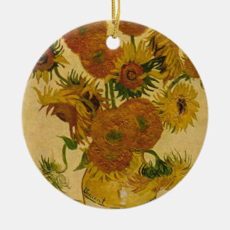 Vincent van Goghs Sonnenblumen, 1878 Rundes Keramik Ornament