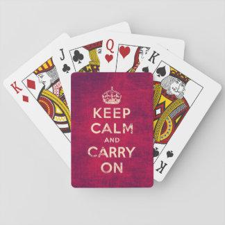 Vintag behalten Sie Ruhe und machen Sie - Rot Spielkarten