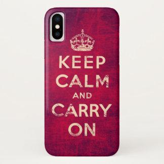 Vintag behalten Sie Ruhe und machen Sie weiter iPhone X Hülle