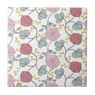 Vintag, boho Chic, retro, mit Blumen, Muster, Kleine Quadratische Fliese