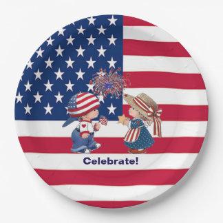 Vintag feiern Sie amerikanische Pappteller 22,9 Cm