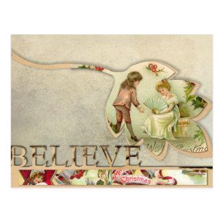 "Vintag ""glauben Sie"" Weihnachtspostkarte Postkarte"