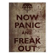 Vintag jetzt versetzen Sie in Panik u. flippen Sie Postkarten