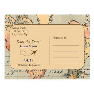 Vintag, Reise, die Save the Date Postkarte Wedding
