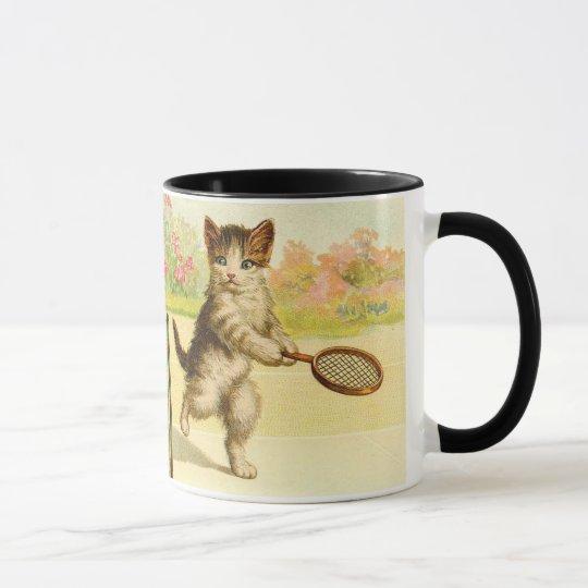 Vintag - Tennis, das Katzen spielt Tasse