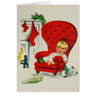 Vintag wartete Sankt-Weihnachtskarte Grußkarte