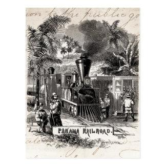 Vintage 1800s Panamakanal-Eisenbahn-Zug-Schablone Postkarte