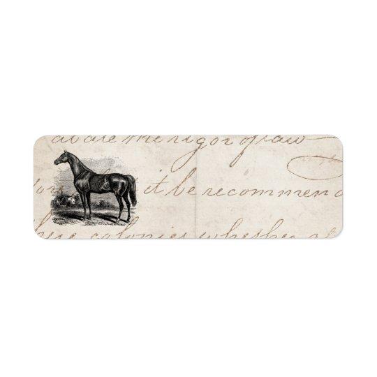 Vintage 1800s Rennen-PferdeRetro Rücksendeetikett